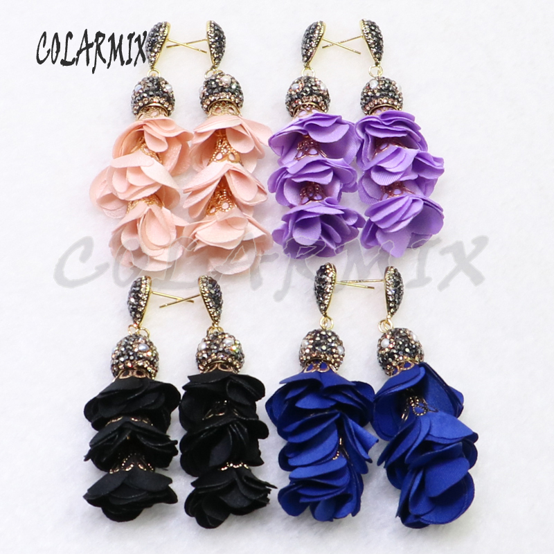 6 Pairs Flower earrings long jewelry earrings elegant handmade jewelry earring gift for lady wholesale jewelry 9016