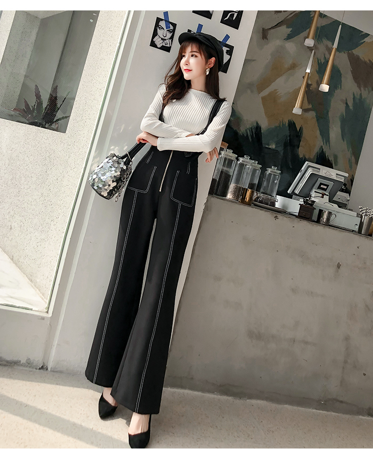 Pengpious winter new flare pants with zipper pockets and knit sweater long sleeves two pieces set fashion women 6