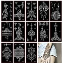 30 шт., Женский трафарет для тату хной, индийская Временная блестящая татуировка, черная хна, шаблон для боди-арта, живопись