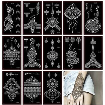 30 sztuk kobieta Airbrush tatuaż z henny wzornik Indian tymczasowy tatuaż brokatowy czarny Henna szablon do malowanie ciała tanie i dobre opinie xmasir Tattoo stencil henna tattoo stencil 18 5cm * 9 5 cm 30 sheet different designs henna tattoo templates hot Sexy women henna tattoo stencils