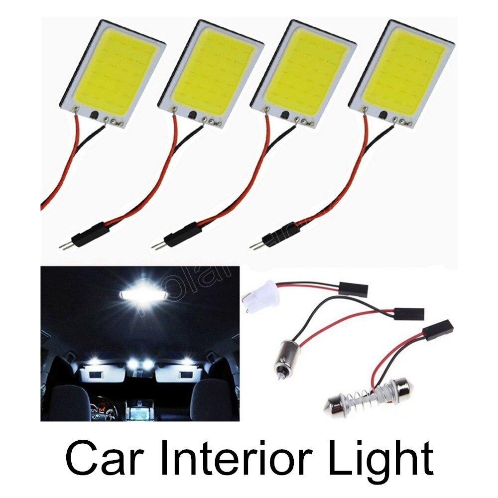 best price sale 10pcs 3W Car Vehicle LED 48 SMD COB Chip LED 12V DC T10 Festoon Socket Panel Light Interior White Bulb