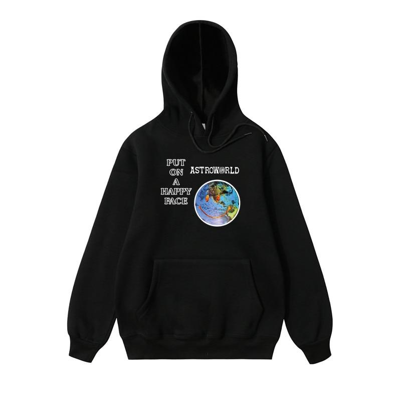 0132130ca 100%Cotton American size Men hoodies PUTON A HAPPY FACE Sweatshirt Men  fashion letter print