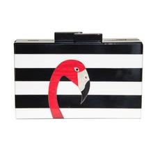 2017 Женщины сумка почтальона сумочки марка бумажник способа Европейский высокого класса элегантный черно-белый полосатый акриловые Фламинго случайные сцепления(China (Mainland))
