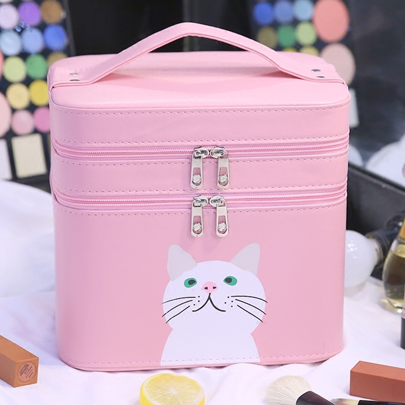 цены New arrival large capacity cosmetic organizer bag women portable make up storage bags Double Layer Cute travel makeup Trunk