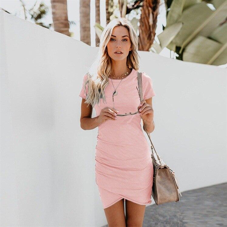 Dropshipping Vendita Calda del Vestito Da Estate 2018 Nuovo Arrivo Manica Corta Donne Sexy Aderente Casual A Vita Alta Mini Vestiti Da Partito Bianco