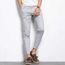 BROWON, осенние мужские модные однотонные повседневные штаны, мужские прямые немного эластичные высококачественные формальные брюки до щиколотки
