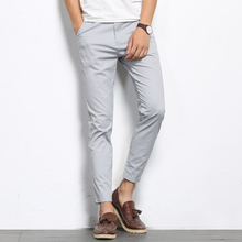 BROWON Autumn Men Fashions Solid Color Casual Pants