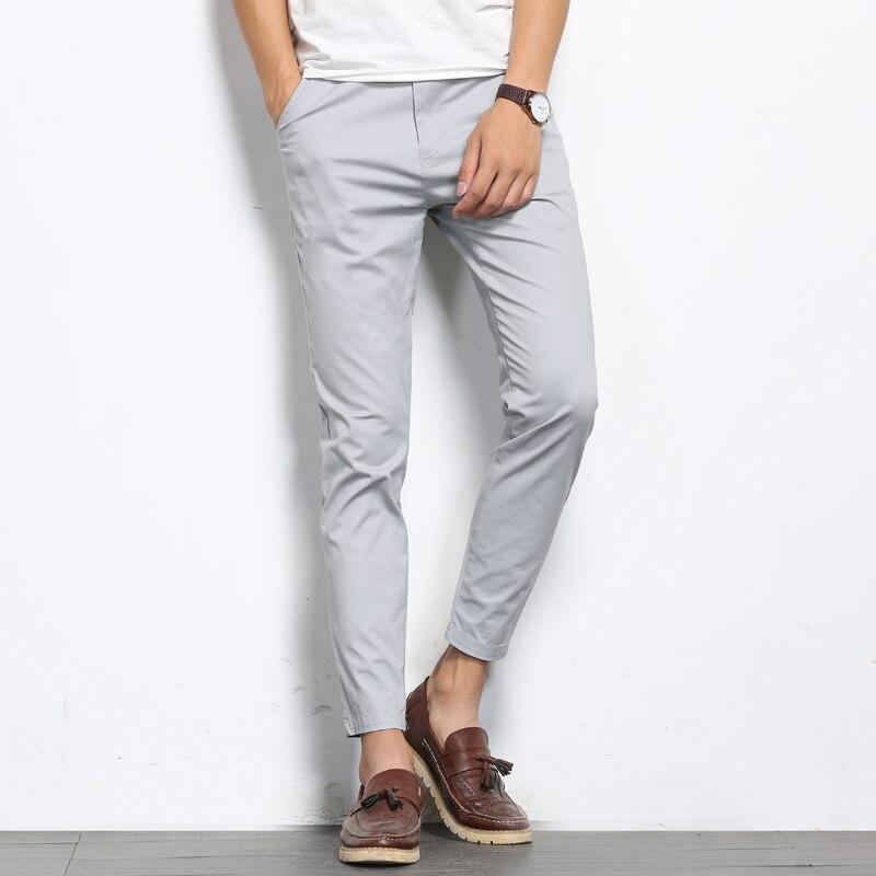 BROWON automne hommes mode couleur unie pantalons décontractés hommes droite légère élastique cheville-longueur haute qualité pantalons formels hommes