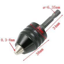 1pc 0.3-8mm Black Keyless Drill Chuck Screwdriver Impact Driver Adaptor 1/4″ 6.35mm Hex Shank Drill Bits Diameter Power Tools