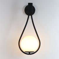 Indoor Wall Lamp Bedroom Wall Light With G9 LED Bulb Gold/Black Iron Lamp Body Milk White Glass Lampshade Tennis Racquet Shape