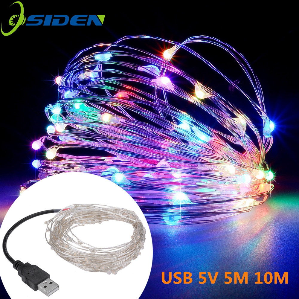 Outdoor String Lights Guide Wire: Led String Lights 10M 33ft 100led 5V USB Powered Outdoor