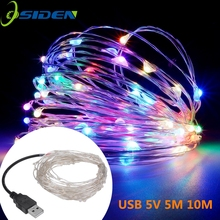 led string lights 10M 33ft 100led 5V USB powered outdoor Warm white/RGB copper wire christmas festival wedding party decoration