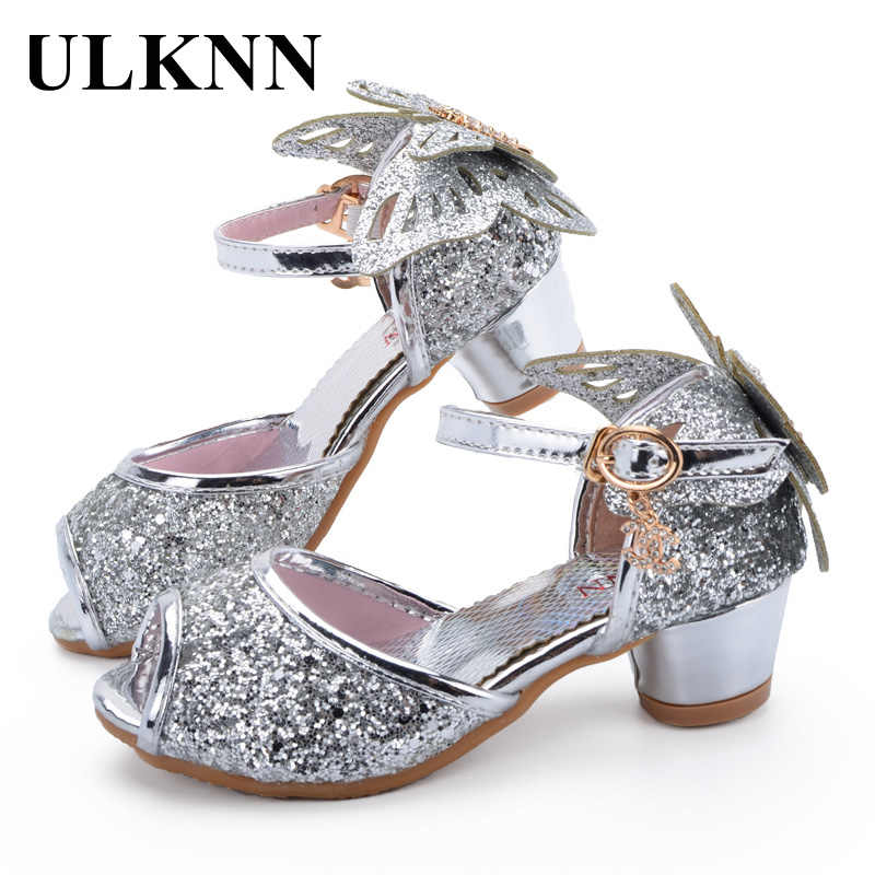 bdd8ecdd2ec7 ... ULKNN Girls Sandals Princess Shoes Children High Heels Shoes Wedge  Butterfly Glitter Kids Shoe Party Dance ...