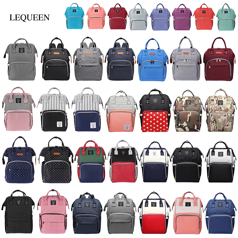 LEQUEEN Diaper Bag Multifunctional Travel Backpacks Nursing Handbag Large Capacity Splicing Color Mummy Bags Baby Care