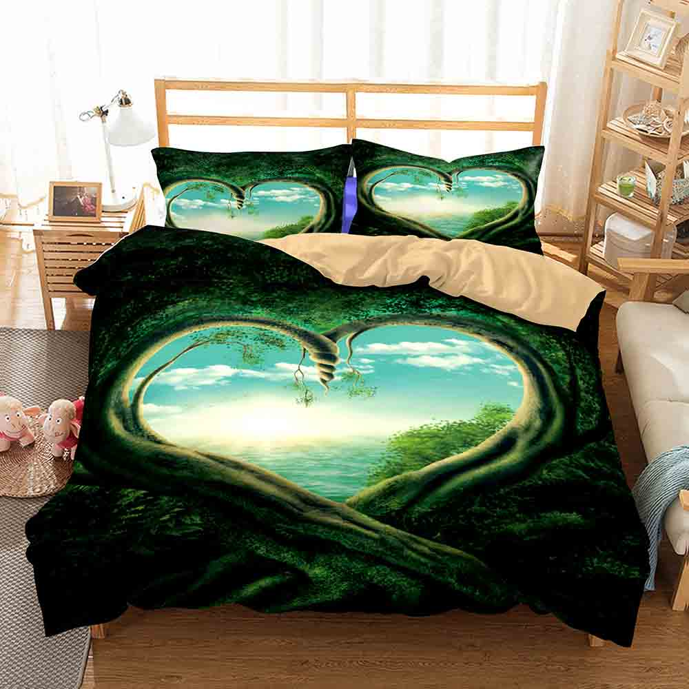 WINLIFE Forest Bedding Sets with Hidden Zipper 3D Duvet Cover Anti-Fading Anti-Pilling for Teens Adults                         WINLIFE Forest Bedding Sets with Hidden Zipper 3D Duvet Cover Anti-Fading Anti-Pilling for Teens Adults