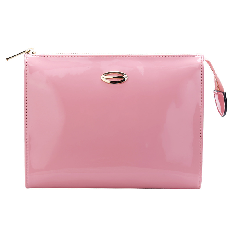Womens Jelly Color Cosmetic Bags PU Leather Organizer Make Up Bag Lady Simple Cosmetic Bag Travel Engraved Logo Makeup Bag A113