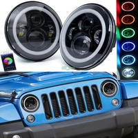 Auto Parts 50W LED 7inch Headlights With Bluetooth RGB Halo 2pcs For 1997 2017 Jeep Wrangler