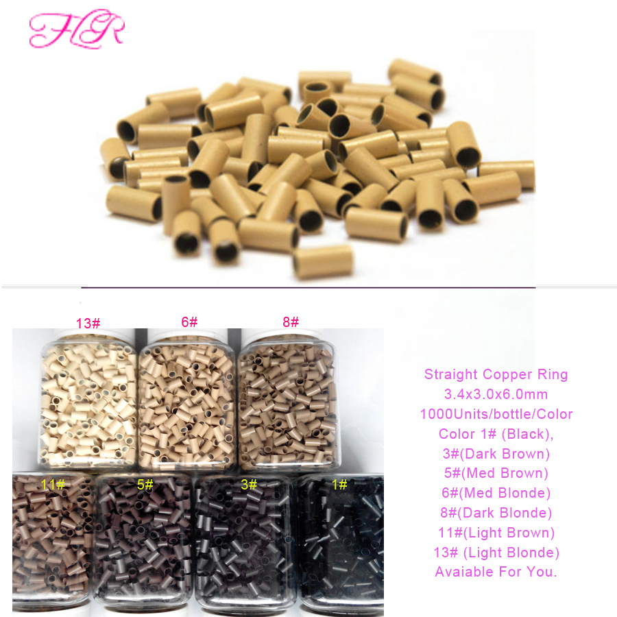 Euro Lock Copper tubes Micro Rings Links Beads 3.4*3.0*6.0mm 5000Pcs For Stick Tip Hair Extension