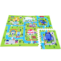 60cm x 60cm x 6 pcs Children's Soft Eva Foam Puzzle Mat Baby Town Road Play Carpet Pad Interlocking Floor For Kids Games Rugs