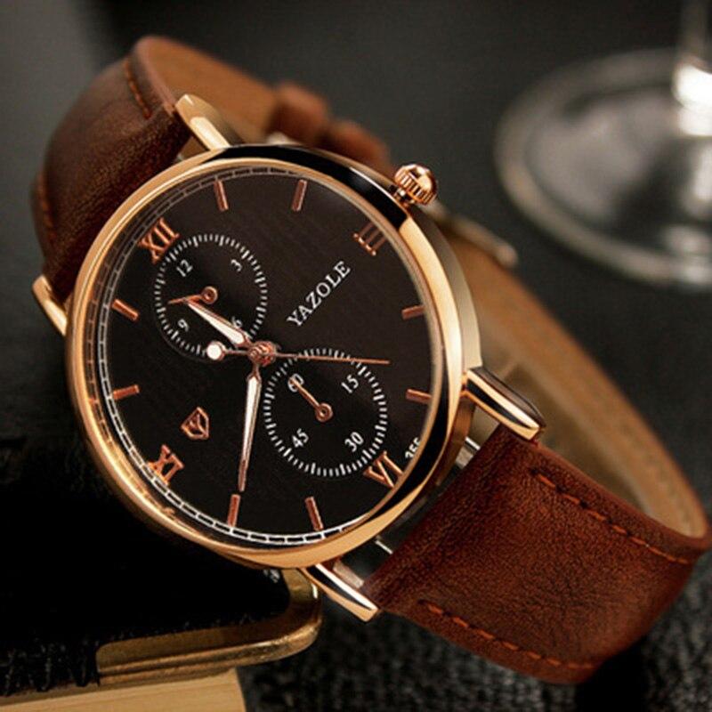 Gold Watch Waterproof Leather Quartz Luminous Watch Hour Relojes Hombre