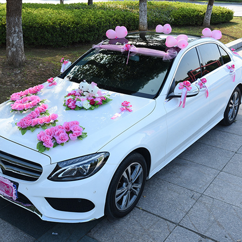 Fleurs artificielles avec Couple ours pour voiture de mariage grande forme d'amour fleurs de voiture de mariage fleurs de soie pour décoration de mariage