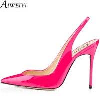 AIWEIYi 2017 Summer Fashion Lady Shoes Sexy Women Pumps Pointed Toe Slingback Slip On Thin High