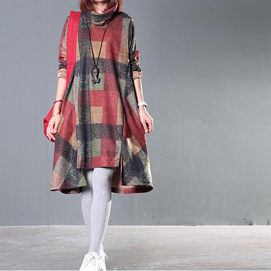 0f705d8fdcf Зимнее платье женское платье водолазка нерегулярные шерстяное платье в  клетку с длинными рукавами Mori Обувь для девочек Винтаж платье af45 купить  на ...