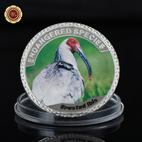 WR Grested Ibis Silver Coin 999.9 Silver Plated Metal Coins Art Ornament Decorative Souvenir Coin Cute Animal Commemorative Item