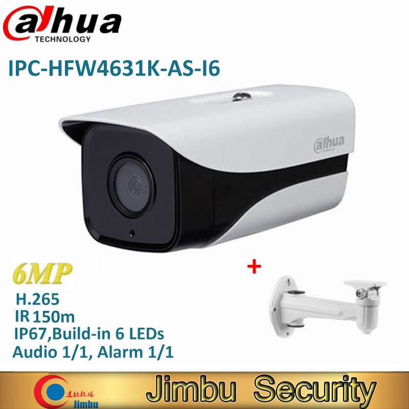 Dahua IPC-HFW4631K-AS-I6 6Mp Stellar Bullet IP Camera H.265 IR150m built-in SD Card Audio Alarm interface IP67 POE CCTV Camera dahua ipc hfw4431k as i6 stellar camera 4mp poe sd card slot audio alarm interface ip67 ir150m bullet camera with bracket