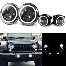 DOT 7Inch Led Round Headlights Amber Turn Signal Hi/Lo Beam DRL + 4Inch Front Bumper Fog Lights For 2007-2017 Jeep Wrangler JK
