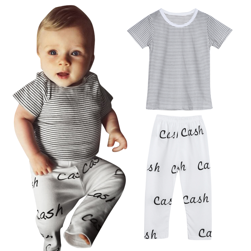 2017 New Baby Cotton Underwear Clothes Sets Infant Newborn Kids Striped T-shirt Tops+Letter Print Pants 2pcs Outfits Sets 0-18M t shirt tops cotton denim pants 2pcs clothes sets newborn toddler kid infant baby boy clothes outfit set au 2016 new boys