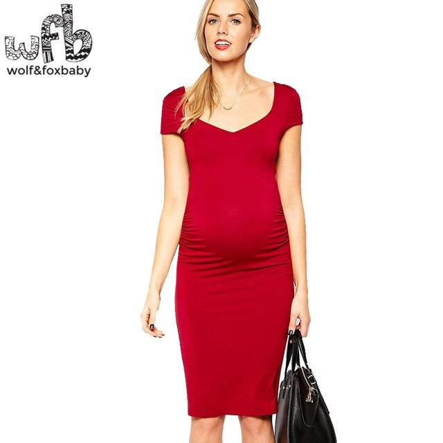 Retail Pregnant women Large size dress solid color short-sleeve Slim Fit v-neck summer