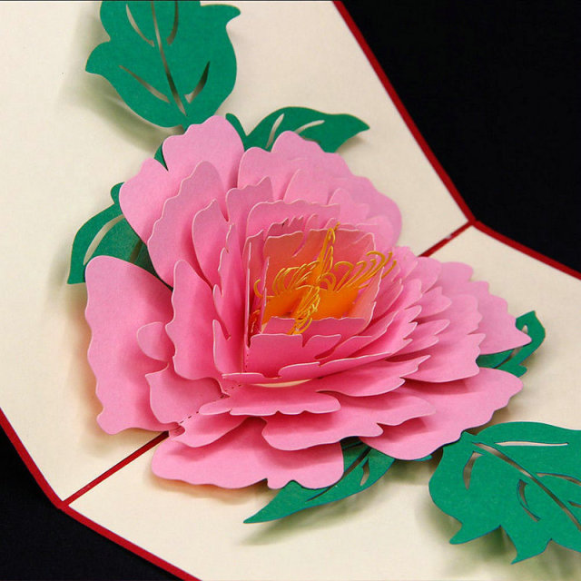 3d peony flower handmade pop up card greeting gift card for Pop design flower