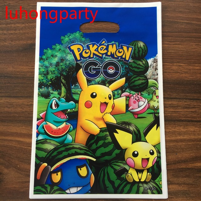10pcs 25155cm Pokemon Go Plastic Gift Bags For Kids Birthday Party Decoration Baby Shower Candy Loot Bag