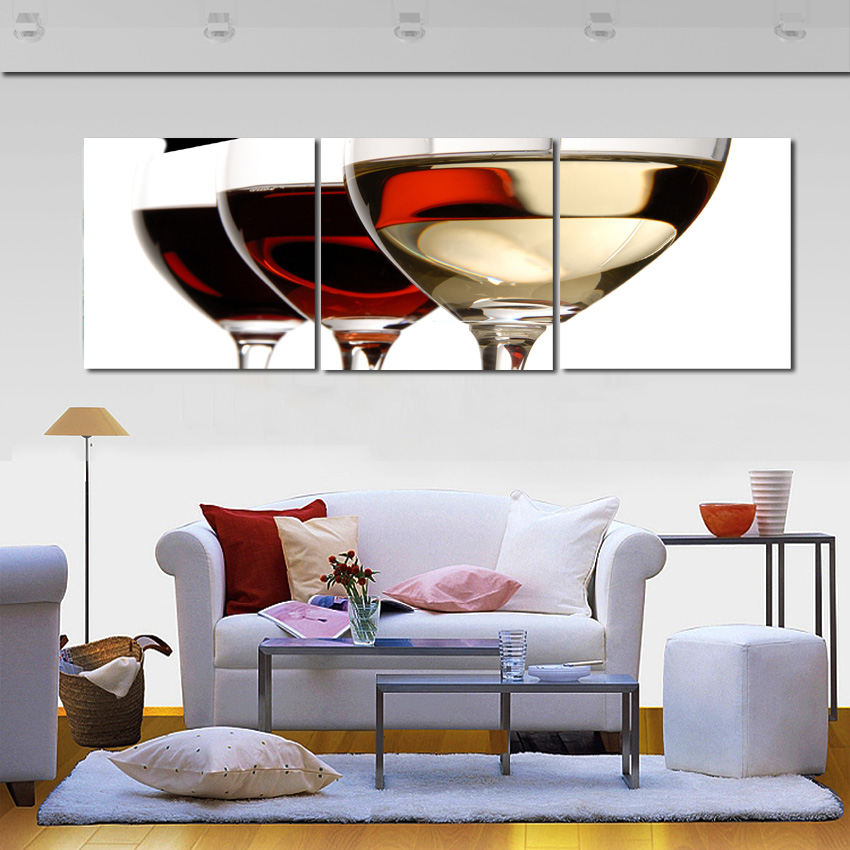 wine wall art decorating dining room | 3 Panel Combination Painting Canvas Goblet Art Cup Wine ...