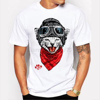 The Happy Cat Design Men's Fashion T shirt Cool Tops Short Sleeve Hipster Tees Cheap wholesale tees 100% Cotton For Man