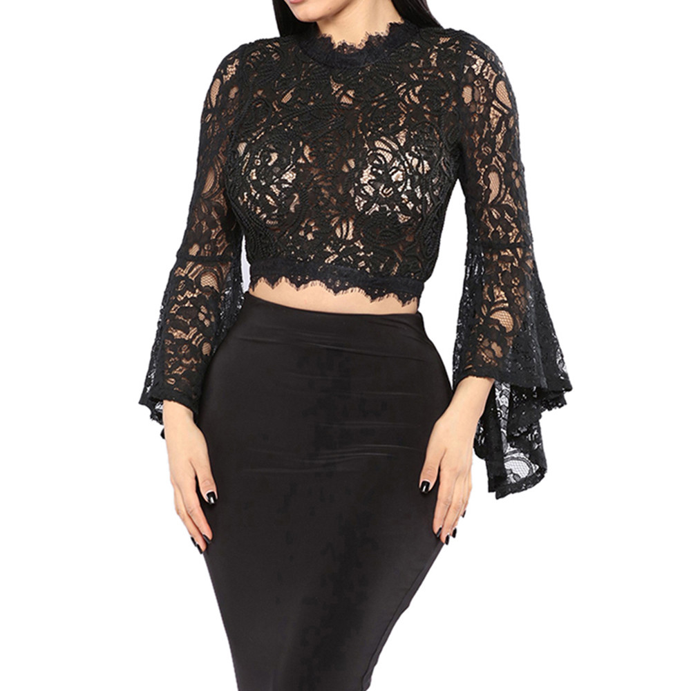 Sexy See Through Tops Shirts Women Fashion Solid O-Neck Long Flare Sleeve Lace Perspective Top Slim Fit Casual Shirts femme