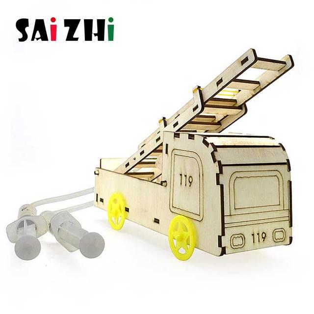 Saizhi DIY Pneumatik Pemadam Kebakaran Penyelamatan Truk Pemadam Kebakaran Model Mainan Aksesoris DIY Mainan Puzzle Kayu Anak Mainan Pendidikan