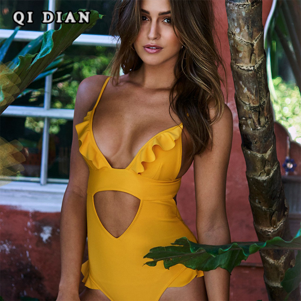 QI DIAN Sexy Plunging Neck Flouncing High Cut Push Up Monokini Bathing Swim Suit For Women Thong Swimwear One Piece Swimsuit QL0 qi dian sexy plunging neck flouncing high cut push up monokini bathing swim suit for women thong swimwear one piece swimsuit ql0