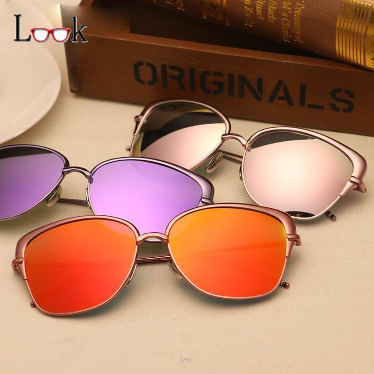 237478b922 2017 New Cat Eye Pilot Sunglasses Women Vintage Fashion Metal Frame Mirror  Sun Glasses Unique Flat Ladies Sunglasses UV400