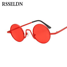 dcb02bdc5e RSSELDN pequeño redondo gafas de sol hombres Retro 2019 Marco de Metal  negro rojo lente redonda Vintage gafas de sol para las mu.