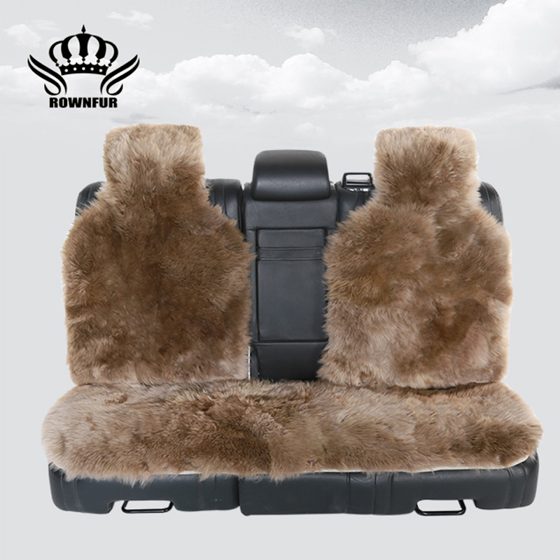 3pc the back Long Hair car seat cover,Natural fur sheepskin car seat covers universal si ...