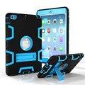 Чехол для iPad Mini 2 3 1 Противоударный Heavy Duty Пластиковые + Резиновое Покрытие для iPad Mini 3 Tablet case Hybrid 3in 1 с Подставкой Держатель