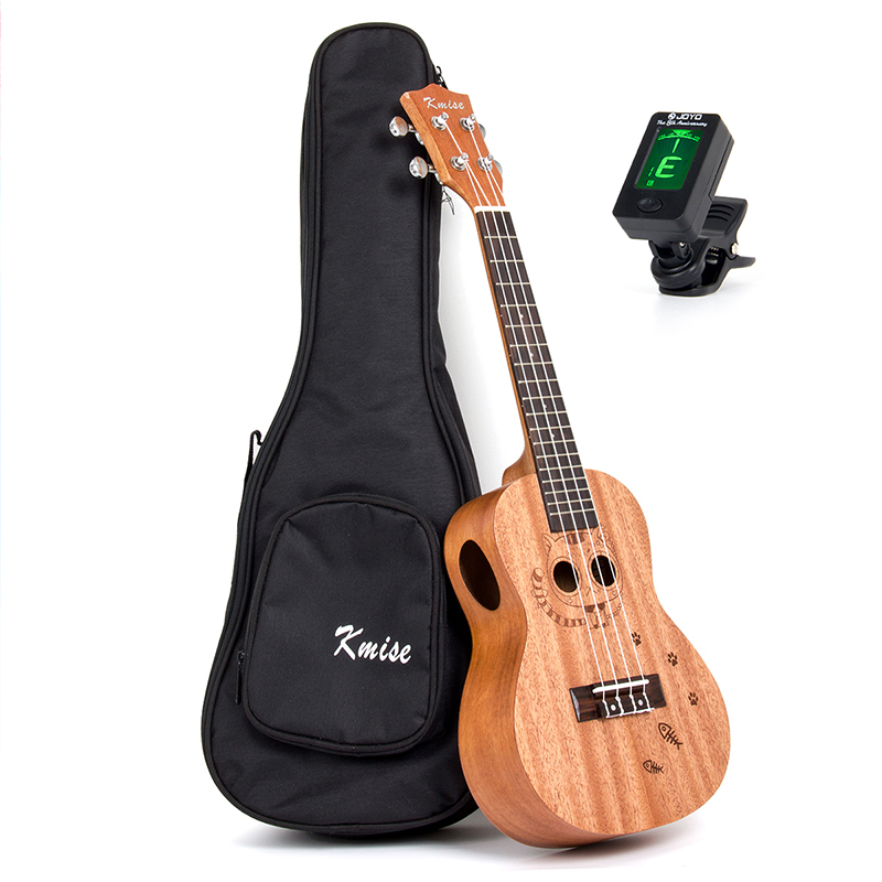 Kmise Concert Ukulele Mahogany Ukelele Uke Double Soundhole Side Hole 23 inch 18 Frets 4 String Hawaii Guitar with Gig Bag Tuner acouway 21 inch soprano 23 inch concert electric ukulele uke 4 string hawaii guitar musical instrument with built in eq pickup