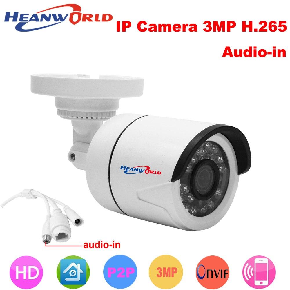 Heanworld H.265 HD 3.0MP IP camera mini bracket Camera outdoor waterproof Night Vision Security CCTV webcam support smartphone