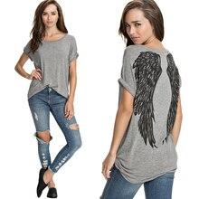 Модные ангельские крылья с принтом тропических женщин Camisetas mulheres с коротким рукавом повседневные свободные топы для женщин