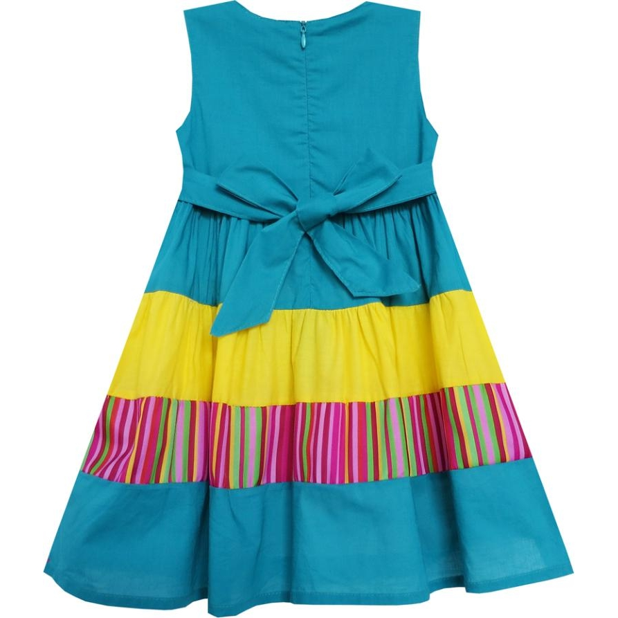 Girls Dress Colour Block Striped Embroidered Flower Blue Cotton 2018 ...