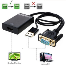 VGA to HDMI Converter Adapter with USB Audio for HDTV Computer Projector VGA Male to HDMI Female Cable hot sell computer tv projector usb 3 0 to vga multi display adapter converter usb 3 0 to vga switching cable computer cable