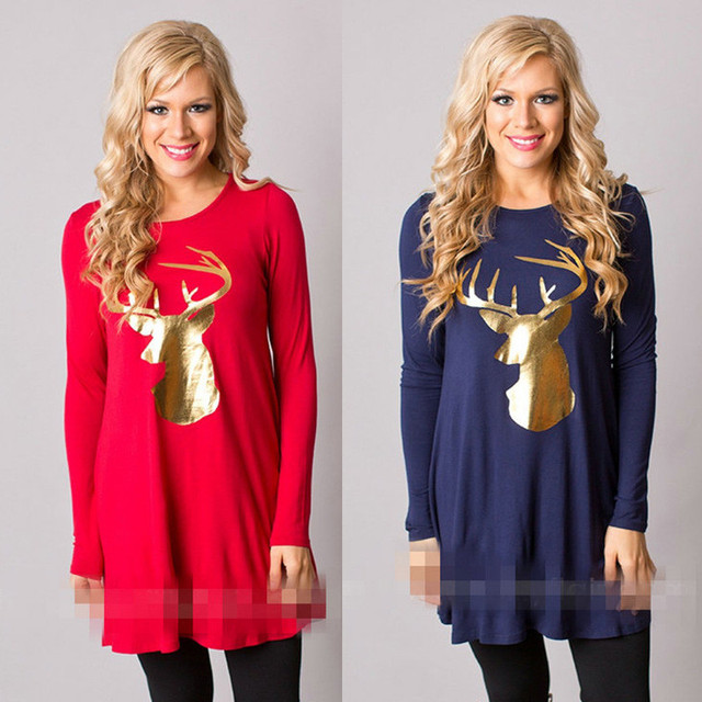 7bdf692b5f1c4 Red Dresses For Pregnant Women Clothing Winter Dress Printed Christmas Elk Tops  Maternity Vestido New Year Pregnancy Clothes