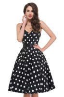 GK Stock party ladies dresses Retro Vintage Halter Polka Dot floral pattern Cotton slim waist sashes Bandage Dress women vestido
